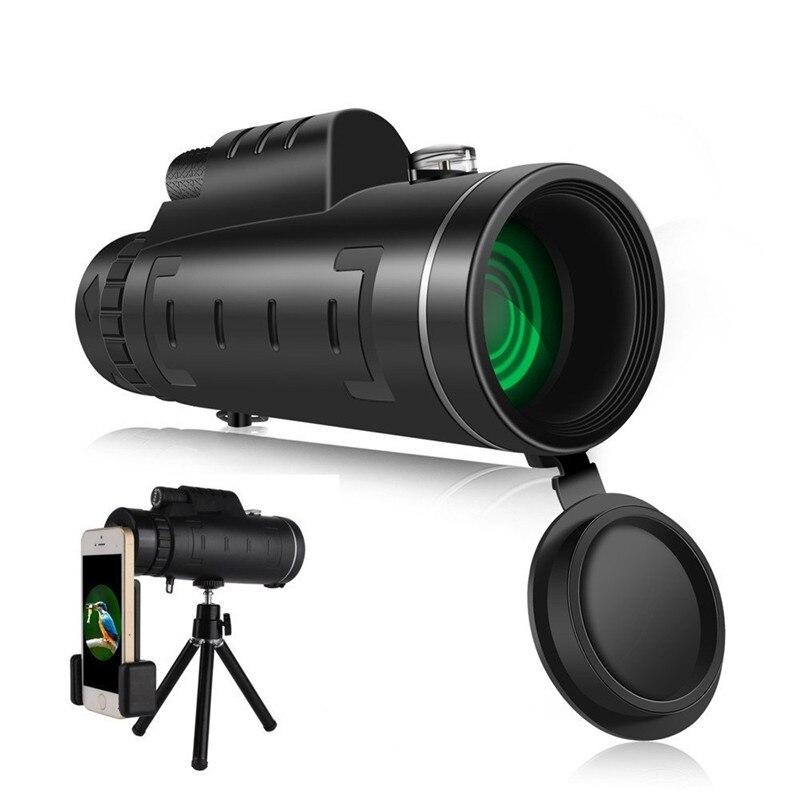 Telescopio Monocular de doble enfoque de 40x60 pulgadas, telescopio de gran angular con lente de teléfono, cubierta antipolvo, brújula para iPhone 8 X Samsung