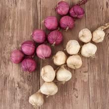 Simulation de légumes ail artificiel   Faux oignon, corde de légumes suspendue, accessoires de décoration pour la maison, 10 pièces/String