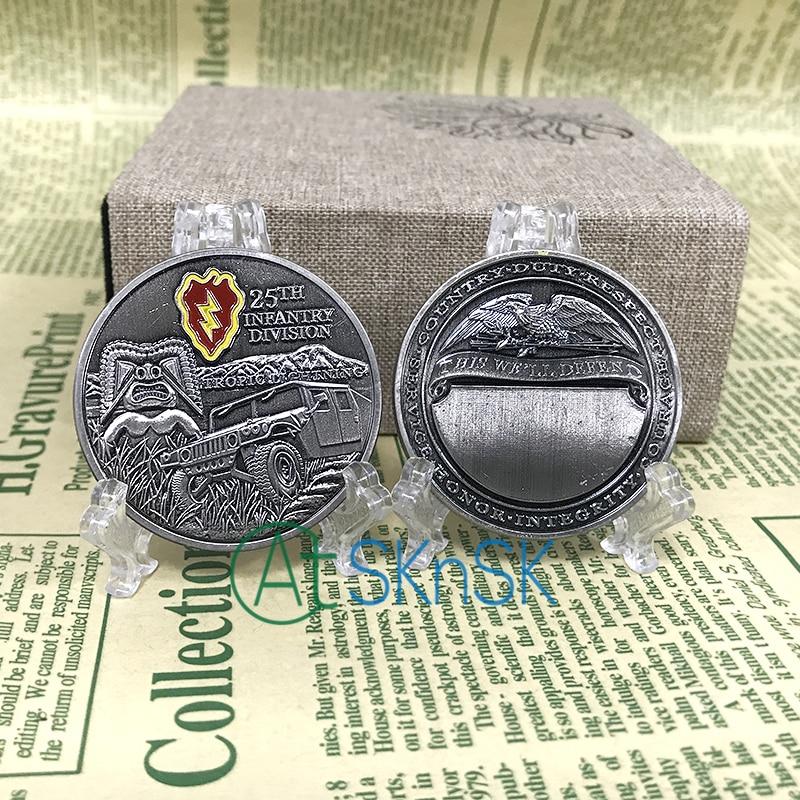Whoesale сувенирные монеты 50/100 шт./лот 25-я стрелковая дивизия США ВЫЗОВ медальон в форме монеты для сбора подарка