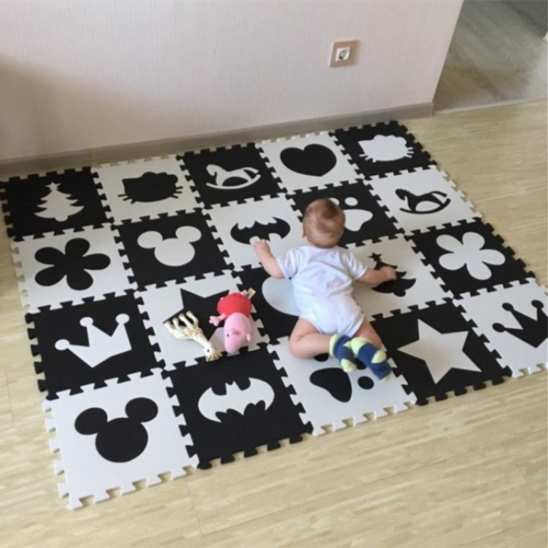 Marjinaa EVA 10pcs/pack Baby And Children Play Floor Mat Environme numbers/Mickey foam mat Black&White pad floor for baby games