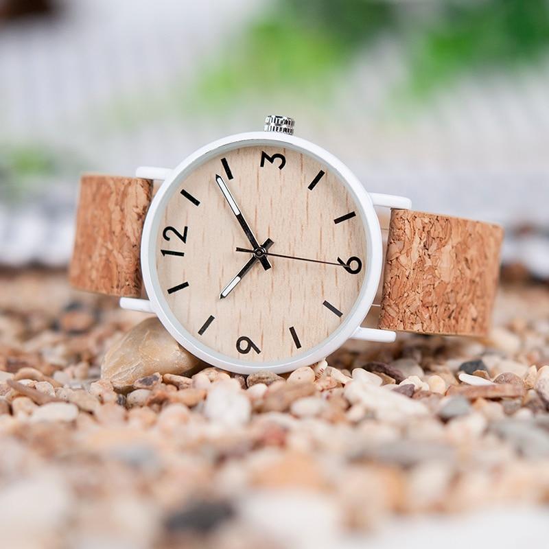 Часы BOBO BIRD женские, с деревянным циферблатом, ремешок из искусственной кожи с деревянной подарочной коробкой, уникальные часы для женщин, ...