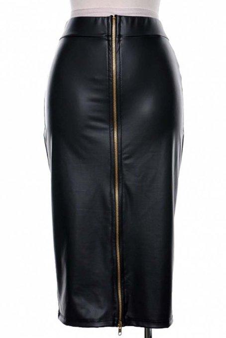 Sexy Plus Größe XXS-8XL Schwarz Leder Bleistiftrock für Frau Saias Lapis Curta Frauen Casual Hohe Taille Reißverschluss Midi röcke