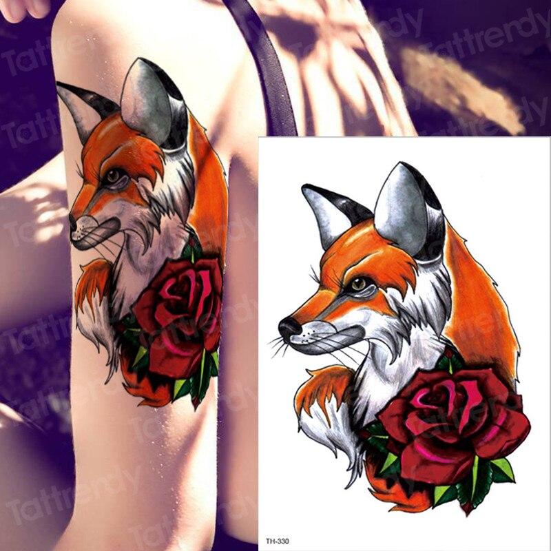 Tatuaje temporal zorro Lobo animales Cuerpo impermeable pintura de pecho tatuaje pegatina tatuaje de acuarela mujeres grandes tatuajes de manga de brazo hombres
