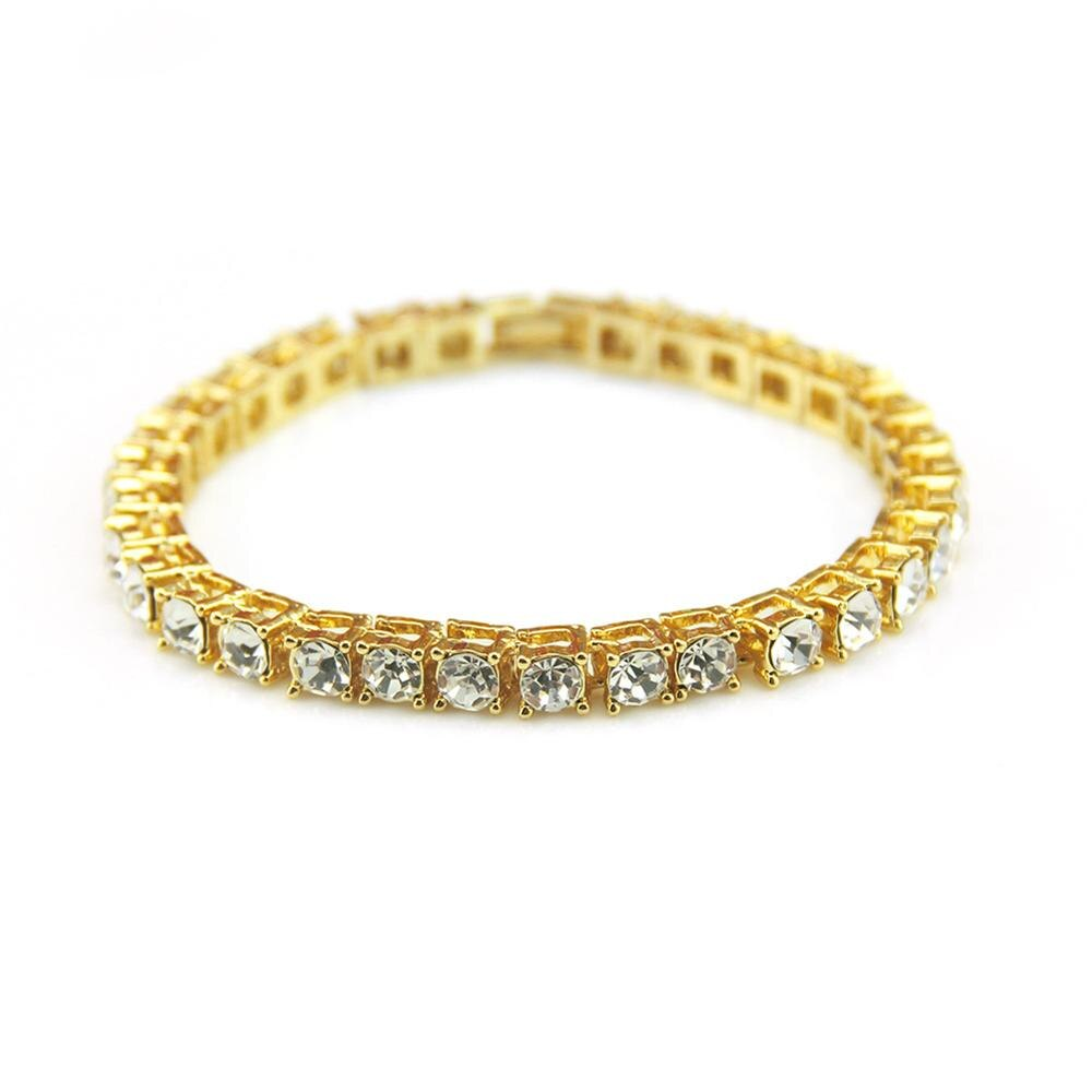 Plata/oro/Negro Iced Out 1 Fila pulsera para hombres Cadena de diamantes de imitación Bling Rhinestone pulsera para mujeres