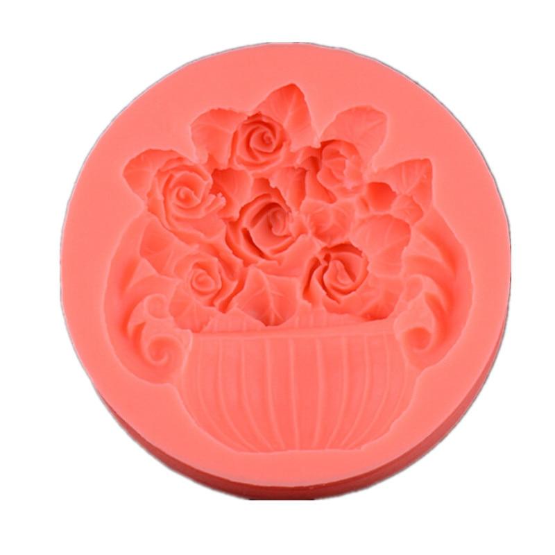 Bonita cesta de flores de silicona 3D molde de Fondant DIY herramientas de decoración de pastel de Chocolate regalo de Navidad molde herramientas para hornear