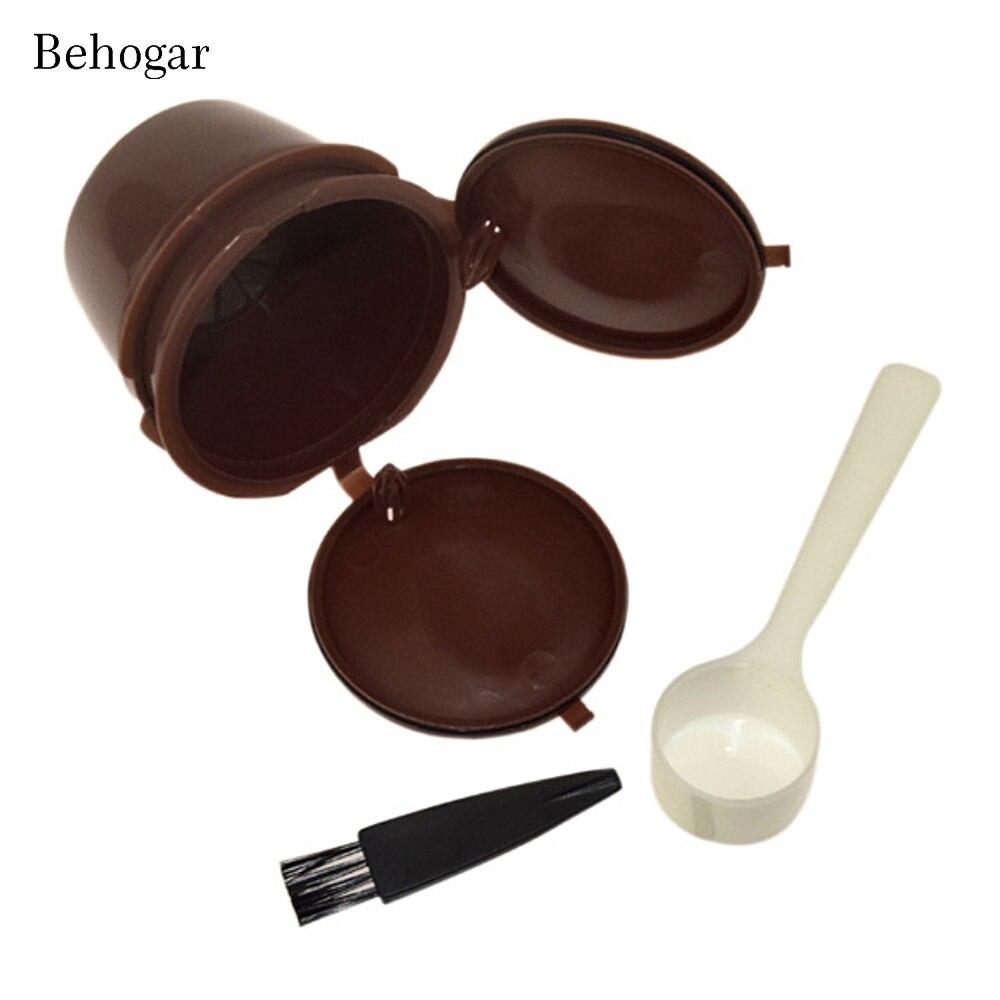 Behogar 4 en 1 cápsula de filtro de café reutilizable con juego de cucharas y pinceles para Nescafe Dolce Gusto Mini Me Piccolo Genio espera