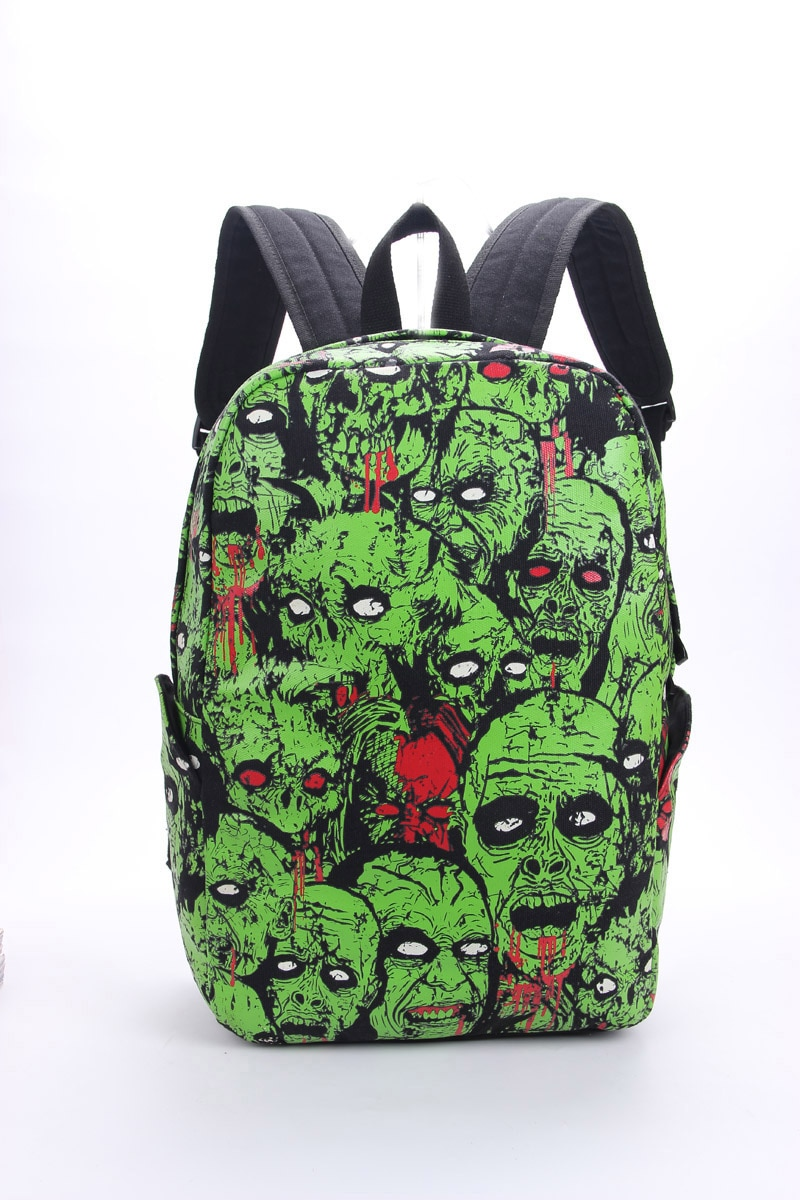 Men Women Unisex Zombie Attack Monster Backpack Rucksack Gothic Emo Punk Backpack School Bag Green Mochila Glow in the Dark