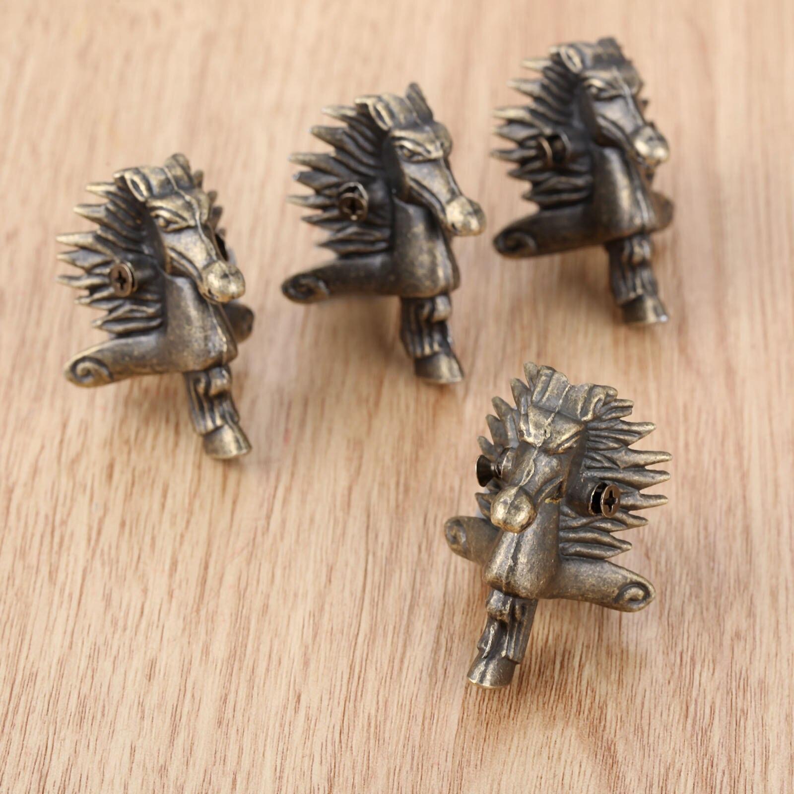 4 Uds cabeza de caballo de bronce antiguo joyería caja de regalo caja de madera pies decorativos Protector de esquina 39*24mm