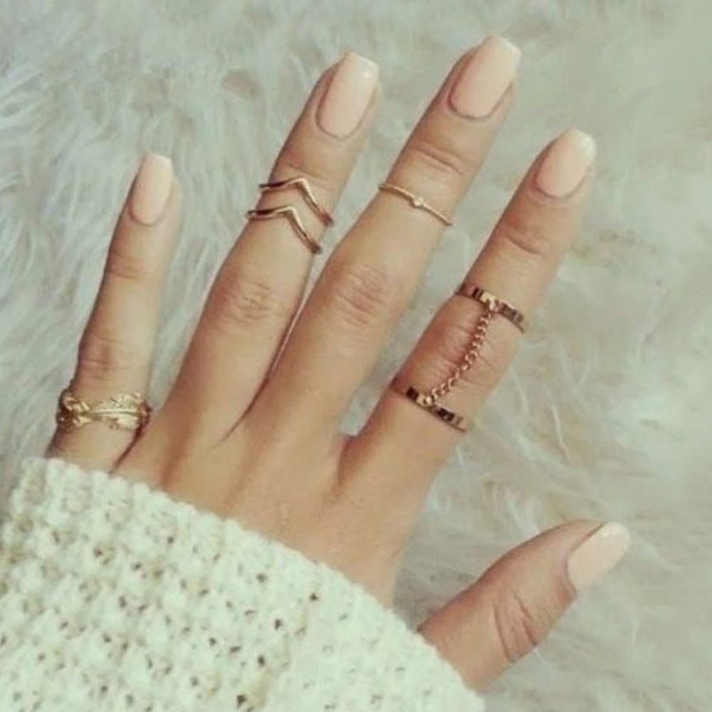 2020 neue 6 einheiten/lot Punk stil helle gold Stacking midi finger knuckle ringe charme ring schmuck blatt September innen