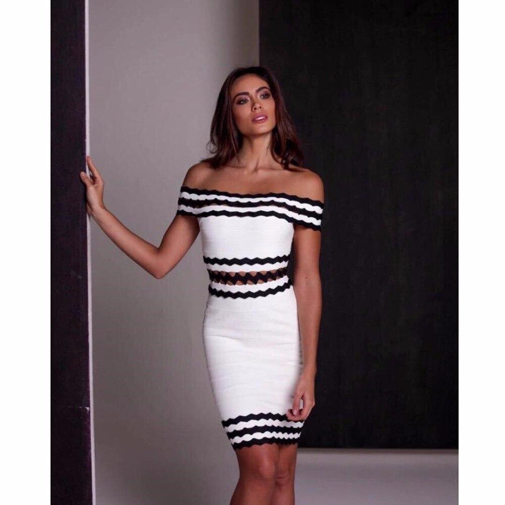 Nouvelles femmes Sexy de haute qualité blanc noir Slash cou rayonne robe de soirée