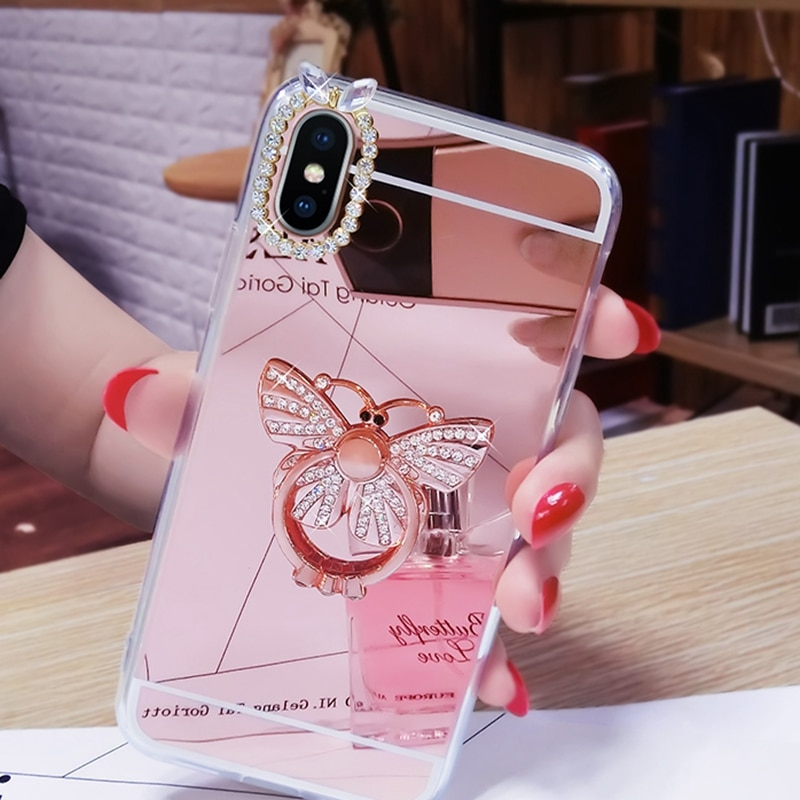 Diamant Beschichtung Spiegel Telefon Zurück Fall Für iPhone 5 S 5 SE 6 6S 7 Plus 8 X XR XS Max Cover Weiche TPU Rahmen Schutzhülle