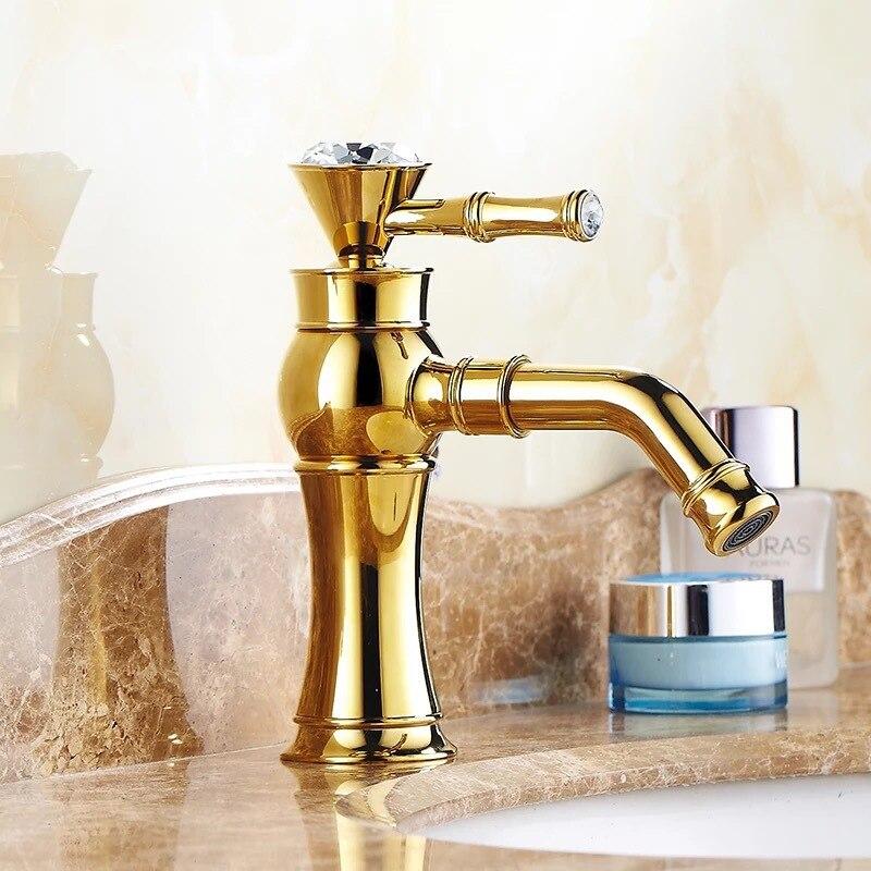 Novedad de envío gratis, grifo de lavabo dorado con acabado dorado, grifo mezclador de latón con torneiras de cerámica para banheiro B-1013M