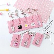 Kawaii rose marin lune PU cuir carte ID sac à supports femmes voyage banque Bus crédit porte-carte porte-clés porte-clés porte-monnaie