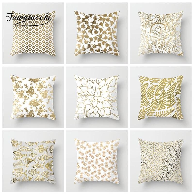Fuwatacchi funda de cojín geométrica dorada hoja piña almohada con pez funda decorativa sofá suave funda de almohada