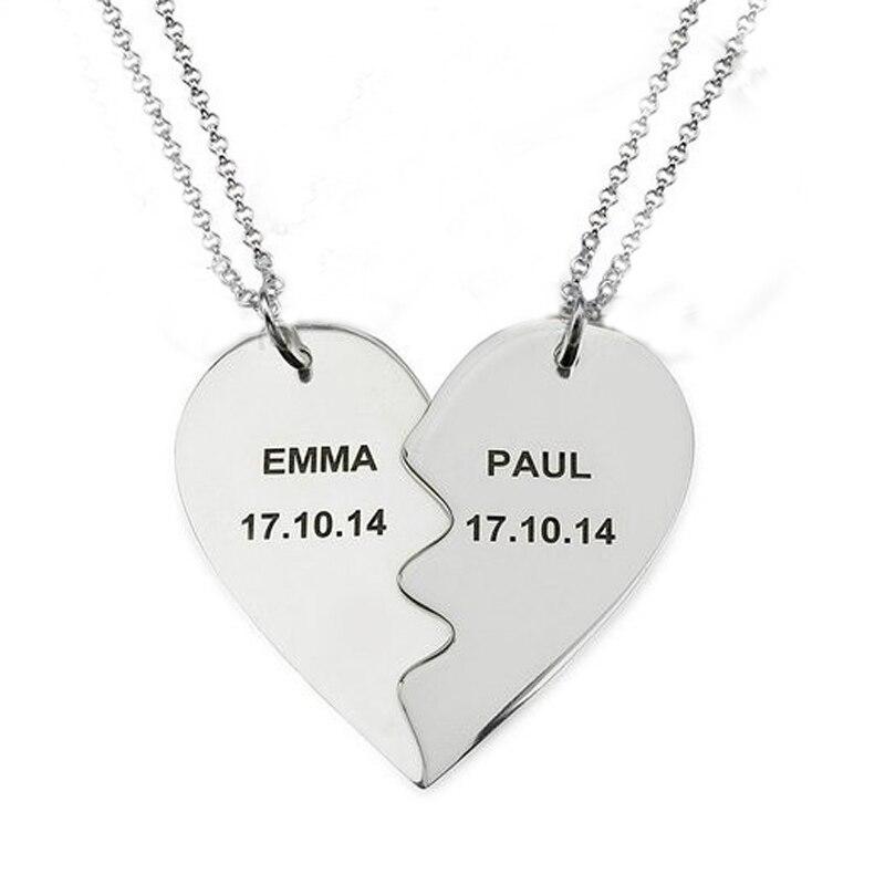 Collar con colgante de corazón roto, joyería personalizada con dos nombres, el mejor regalo del Día de San Valentín, collar, joyería de bienvenida, Dropshipping YP2996