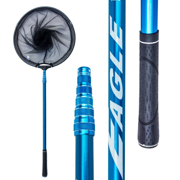Red de pescar plegable de 205cm, 245cm, 275cm, 305cm, red de pescar telescópica de mango largo de carbono plegable, equipo para pescar y pescar redes de aterrizaje