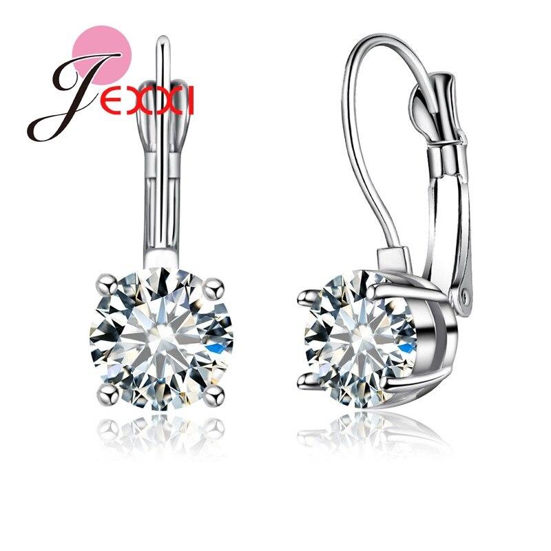 Pendientes de plata de ley 925 para mujer, anillos de Zirconia cúbica blanco brillante africano, el mejor regalo para mujer, joyería de moda al por mayor