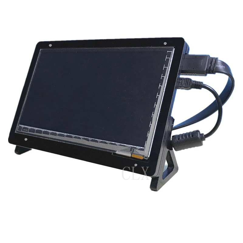new 7 inch usb hdmi lcd display monitor capacitive touch screen holder case for raspberry pi windows jetson nano 7 Inch LCD Acrylic Case Raspberry Pi 3 Model B LCD Touch Screen Display Monitor Bracket Case for Raspberry Pi 3 LCD