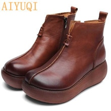 AIYUQI Shoes women retro 2021 spring new genuine leather women shoes platform casual moccasins  on t
