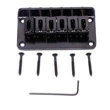 1 Set Guitar Parts Guitar Hardtail Bridge For Electric Guitar 6 String Black With Screws Musical Instruments Gear