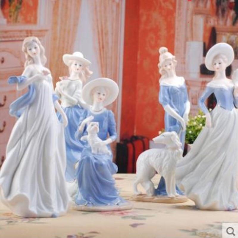 Figuritas de cerámica europeas para el interior del hogar, adornos artesanales, zapatos occidentales para chicas, zapatos de porcelana, adorno artesanal, regalo de boda