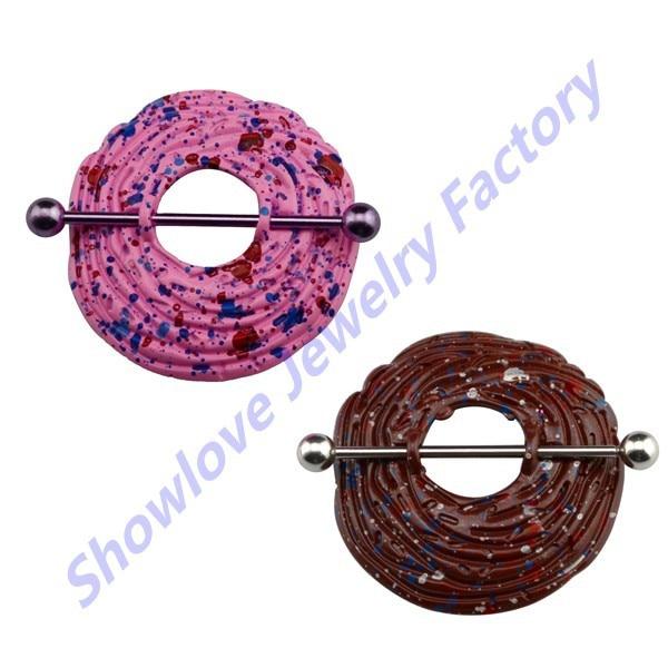 Showlove-2pcs/lote espolvorear de pezón anillo protector barra joyería Piercing del cuerpo