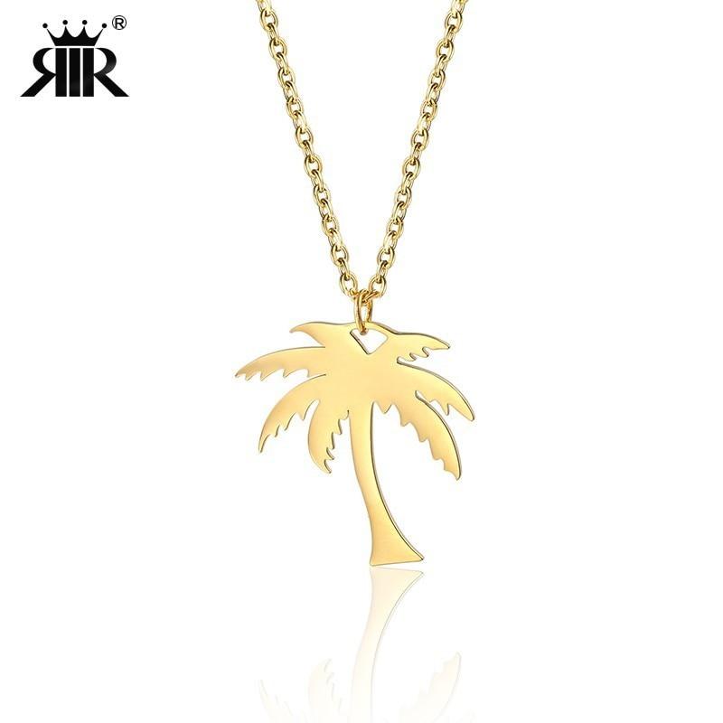 RIR Frauen Dainty Gold Palm Baum Halskette Edelstahl Coconut Anhänger Halsketten Minimalistischen Pflanzen Schmuck