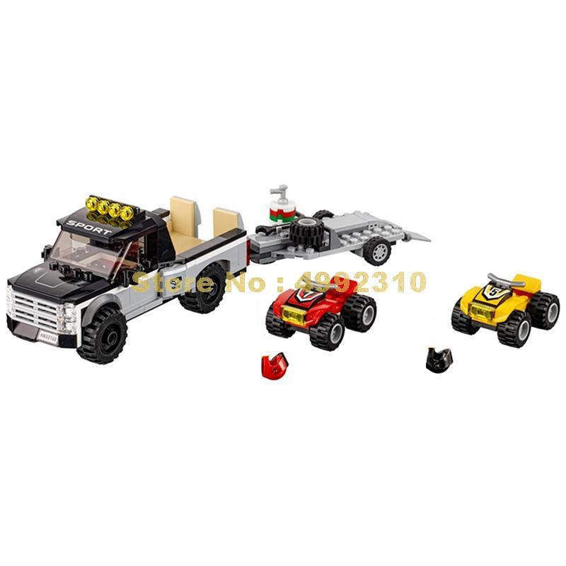 258 pces cidade todo o terreno veículo/atv racing team building block 2 figuras 60148 tijolos brinquedo