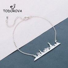 Todorova Skyline New York City Men Bracelets Stainless Steel Jewelry Rose Gold USA Cityscape Women Bracelet Handmade