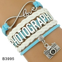 High Quality Gift for Her Him Infinity Love Photography Photographer Camera Charm Leather Wrap Bracelets for Women