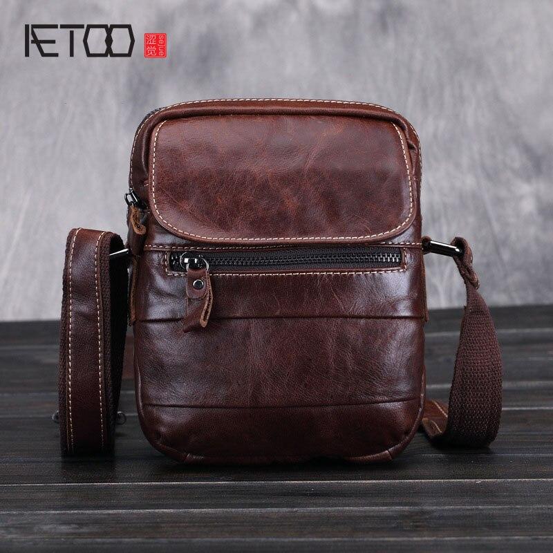 AETOO 2017 new men's Leather Shoulder Bag 100% genuine leather vintage brown messenger bags men casual travel bags