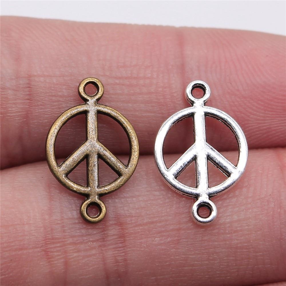 Conector de la paz de 17x11mm, 40 piezas, conector de la paz, dijes para hacer joyas, dijes de conector de la paz