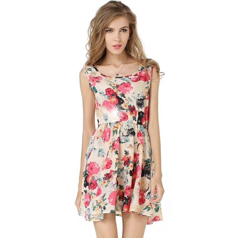 2019 Summer Style Chiffon Party Dress Women Casual Floral Printed Beach Dress Girls Sleeveless Sweet Mini Dresses Plus Size XXL