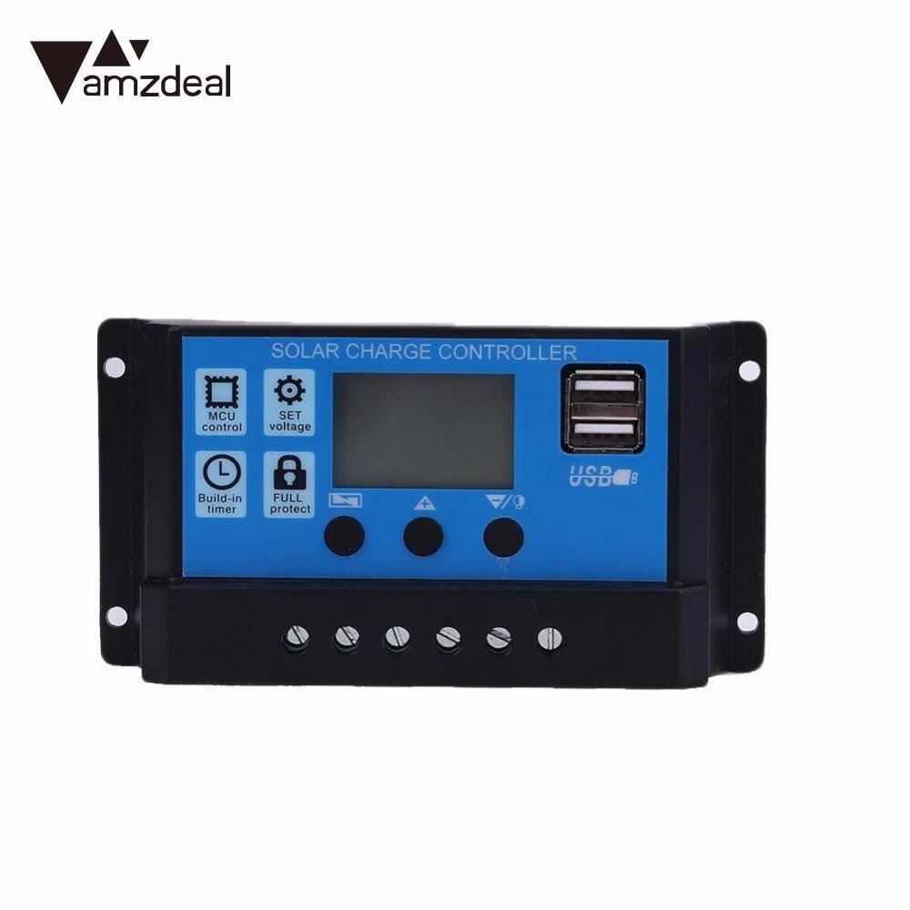 Amzdeal контроллер солнечного заряда 12 В 24 30A 20A автоматическая система солнечной
