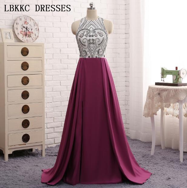 Púrpura Vestido De Noche Top blanco con cuentas Vestido largo hasta el suelo Vestido De Noche Vestidos De Fiesta importados Robe De Soiree