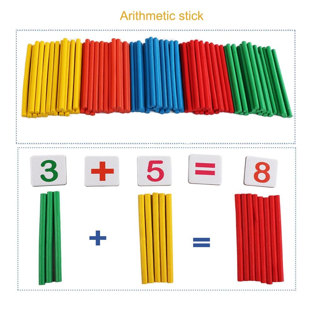 Palo para contar y combinar rompecabezas de matemáticas y restar juego ayuda a enseñar hechos de matemáticas tempranas con caja