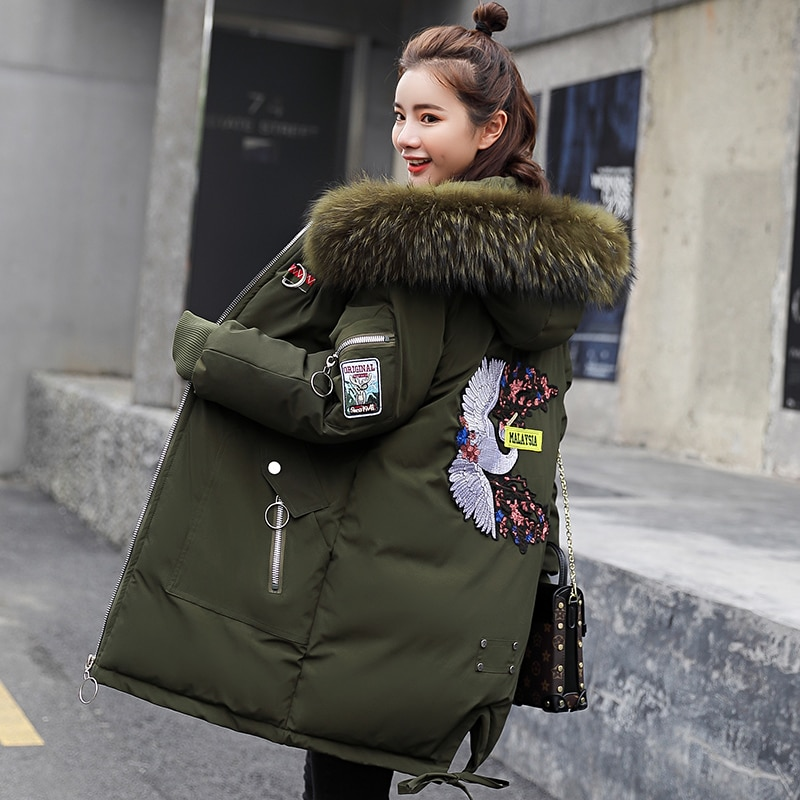 2020 Winter Jacket Women Plus Size Fur Collar Hooded Cotton Coat Parka Female Long Slim Quilted Jackets Zipper Warm Outwear coat winter jacket women thick warm hooded fur parka cotton padded coat long outwear plus size 3xl slim jacket female