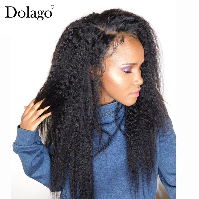 Peluca recta rizada 13x6, pelucas de cabello humano brasileñas con encaje frontal de 250% de densidad para mujeres, peluca de cabello humano Natural negro predesplumado Dolago Remy