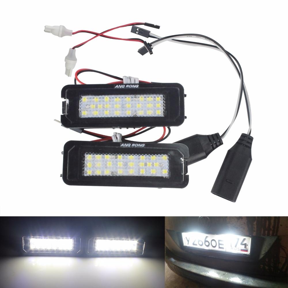 ANGRONG LED para placa de matrícula luz No Error nuevo VW escarabajo 06-10 (CA198) para VW Golf GTI MK6 MK5 Passat Polo Scirocco