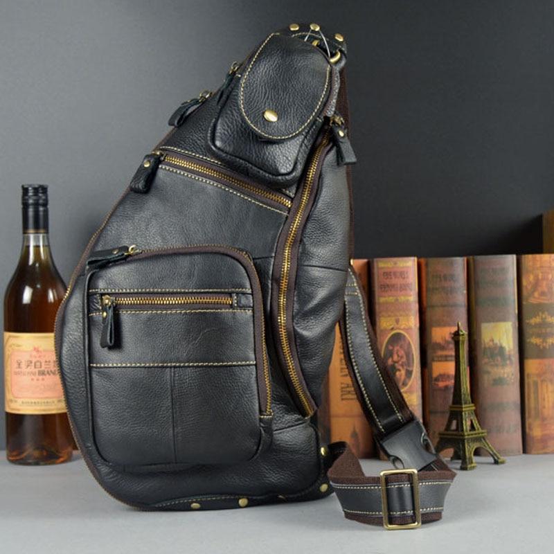 حقيبة صدر من الجلد الطبيعي للرجال ، حقيبة كتف ذات علامة تجارية شهيرة ، حقيبة ظهر غير رسمية كلاسيكية بحزام كتف