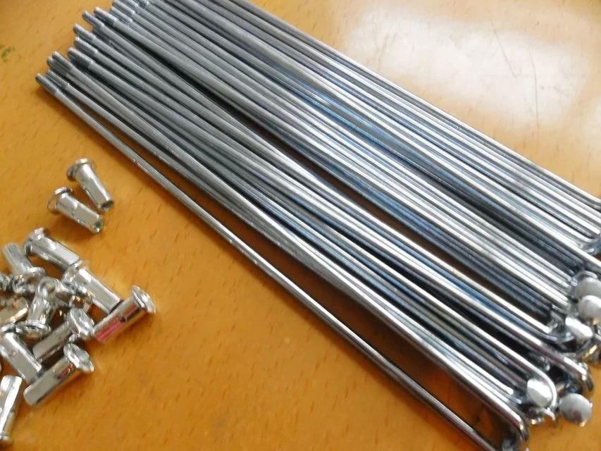 100 unids/lote radios de bicicleta eléctrica acero + pezones accesorios de bicicleta/radios de bicicleta plata 10K 10G diámetro 3mm