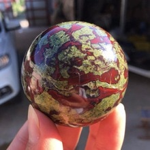 45 мм натуральный драконовый кровяной камень Джаспер хрустальный шар целебный шар + шаровое сиденье