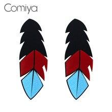 Comiya bleu Eed noir acrylique plume forme pendentifs longues boucles doreilles pour les femmes mode européenne balancent boucle doreille Brincos Femme