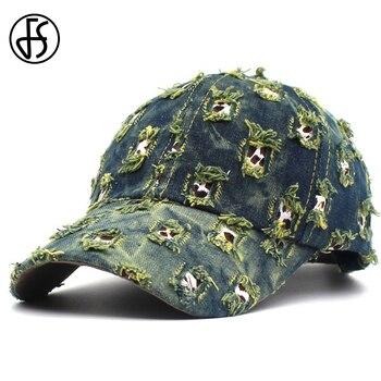 FS Fashion Streetwear Worn Style Hip Hop Face Cap For Men Women Summer Blue Green Baseball Caps Snapback Hat Gorra Hombre