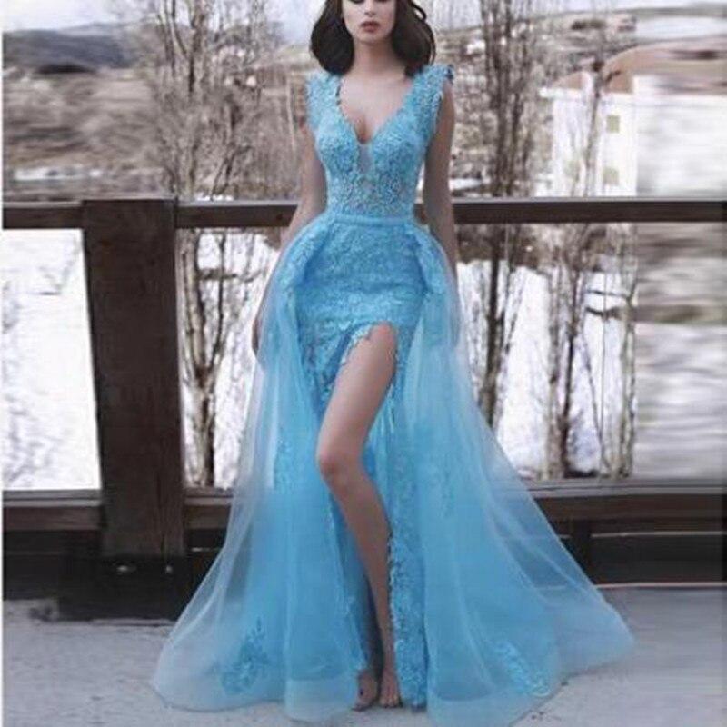 Sexy v-cuello parte delantera corta vestidos de noche largos elegantes Apliques de encaje asimétrico vestido de fiesta hecho a medida vestido largo mujer soiree