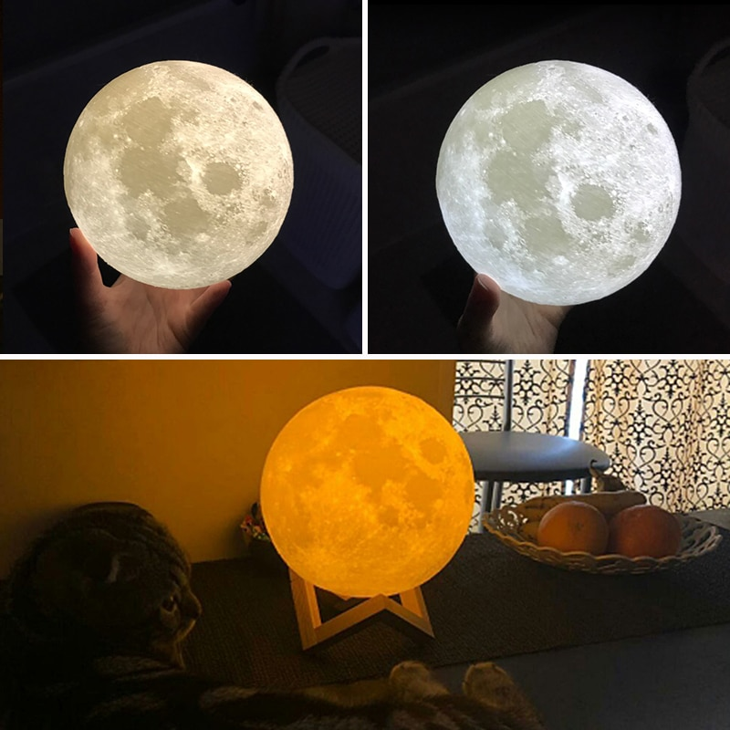 New Dropship 3D Print Moon Lamp 24cm 20cm 15cm  Colorful Change Touch USB Led Night Light Home Decor Creative Gift