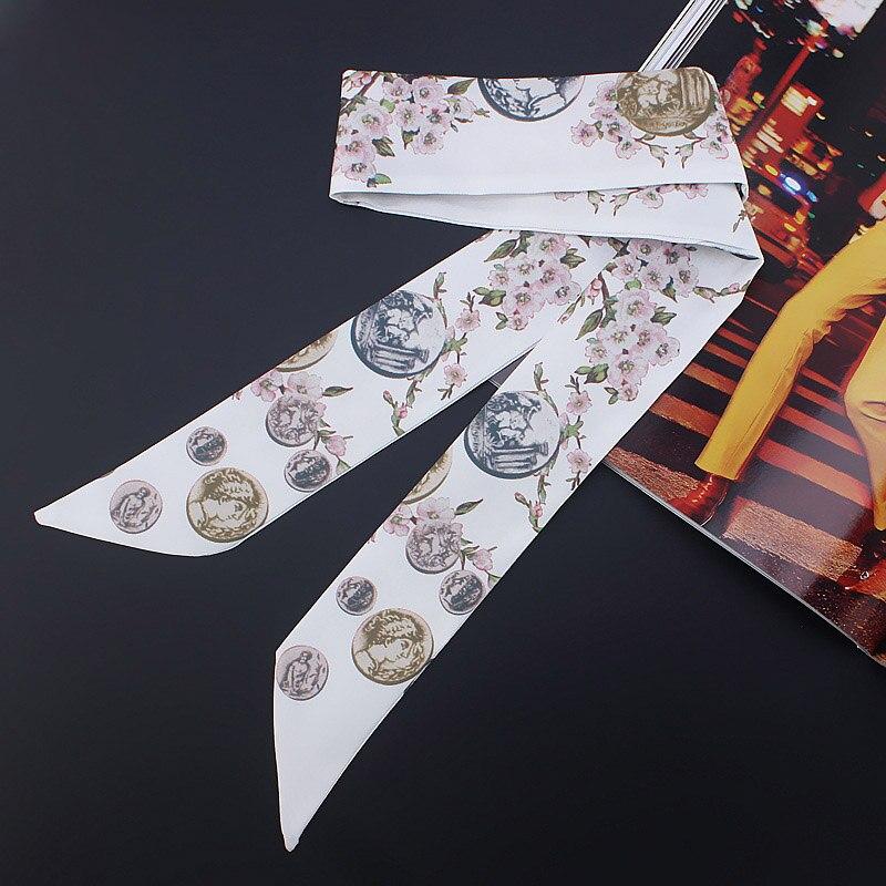 Moda de lujo Flor de sarga emulación de seda de las mujeres pequeñas de moda bufanda bolsas de pelo con asa corbata multifunción pañuelo con lazo de mano M320