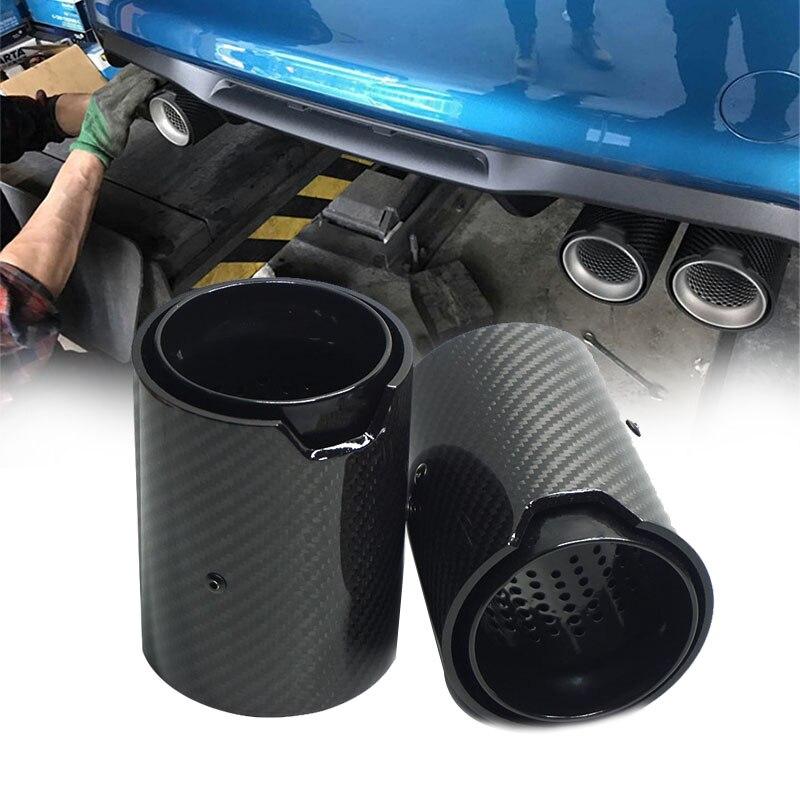 Tubo de escape de fibra de carbono para BMW 1234 M, mejora de tubo de escape F80 F82 F83 F10 F12 2 uds negro completo