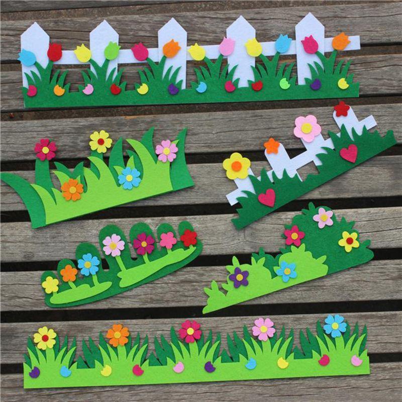 Aplique de manualidad de fieltro con flores para jardín de infantes, decoración para habitación de guardería, calcomanías para el hogar, adhesivo Mural artístico de pared #530