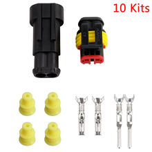 10 Kit 2 Pin Way Verzegelde Waterdichte Elektrische Draad Connector Plug Terminal Set